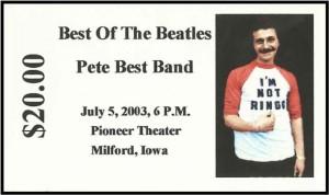Pete Best Band concert ticket